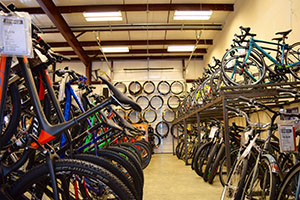 rows of bikes in a bike shop
